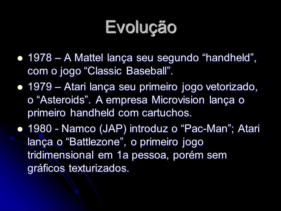 Evolução 1978 – A Mattel lança seu segundo handheld, com o jogo Classic Baseball. 1978 – A Mattel lança seu segundo handheld, com o jogo Classic Baseb