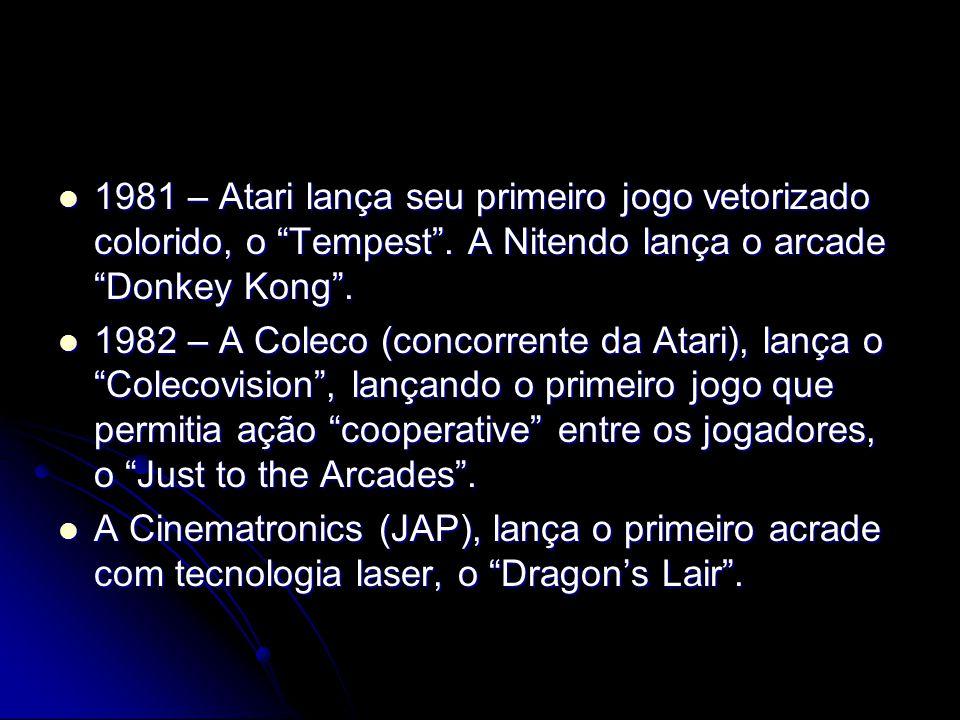1981 – Atari lança seu primeiro jogo vetorizado colorido, o Tempest. A Nitendo lança o arcade Donkey Kong. 1981 – Atari lança seu primeiro jogo vetori
