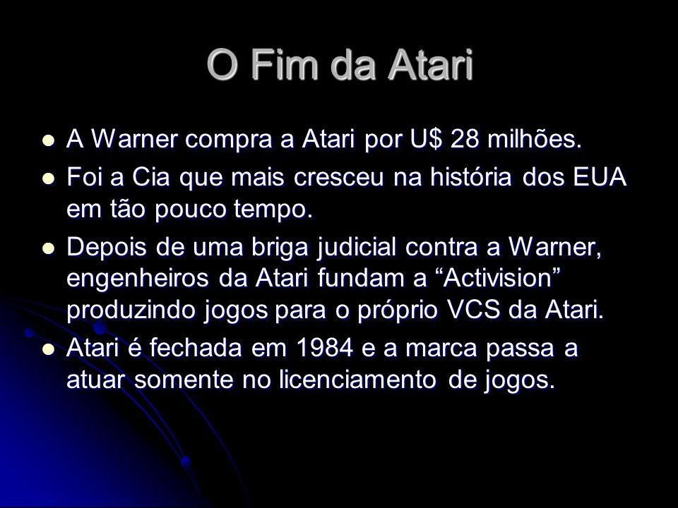 O Fim da Atari A Warner compra a Atari por U$ 28 milhões. A Warner compra a Atari por U$ 28 milhões. Foi a Cia que mais cresceu na história dos EUA em