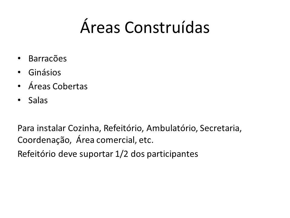 Áreas Construídas Barracões Ginásios Áreas Cobertas Salas Para instalar Cozinha, Refeitório, Ambulatório, Secretaria, Coordenação, Área comercial, etc