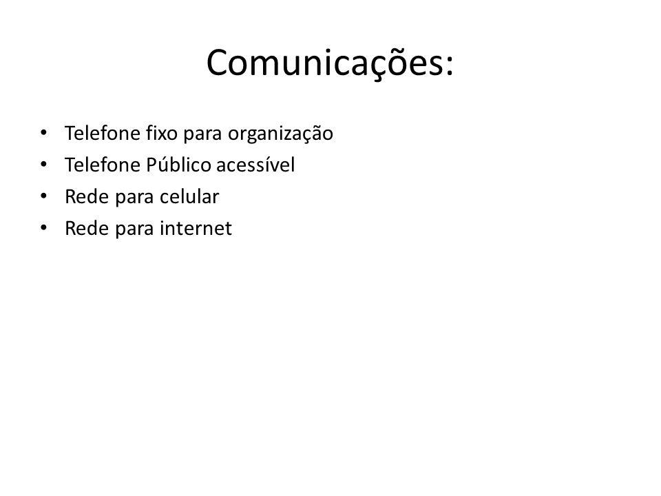 Comunicações: Telefone fixo para organização Telefone Público acessível Rede para celular Rede para internet