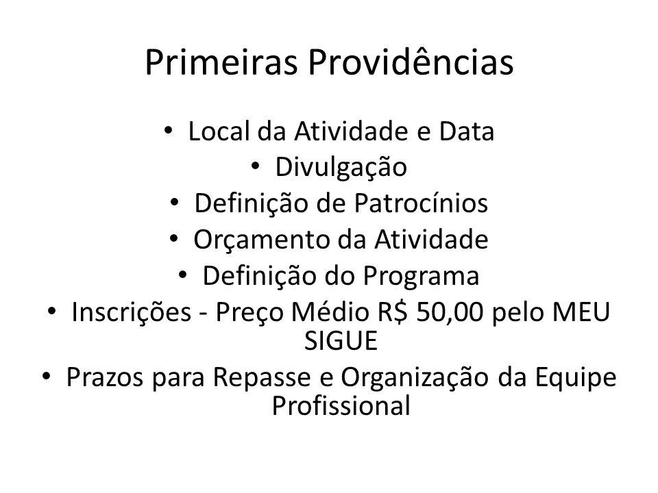 Primeiras Providências Local da Atividade e Data Divulgação Definição de Patrocínios Orçamento da Atividade Definição do Programa Inscrições - Preço M
