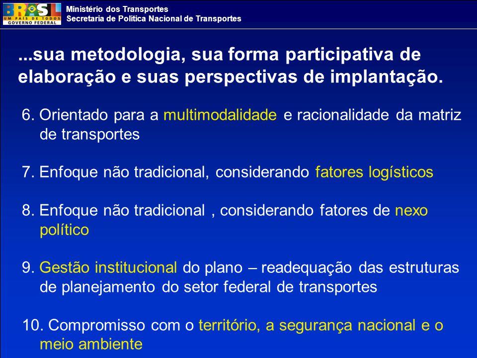 Ministério dos Transportes Secretaria de Política Nacional de Transportes...sua metodologia, sua forma participativa de elaboração e suas perspectivas de implantação.