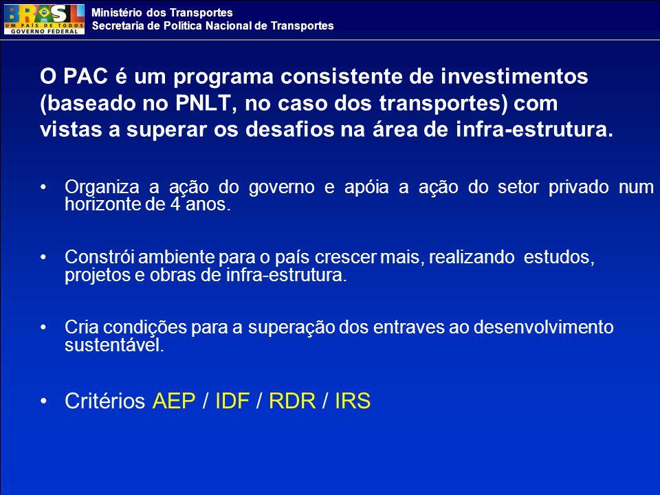 Ministério dos Transportes Secretaria de Política Nacional de Transportes O PAC é um programa consistente de investimentos (baseado no PNLT, no caso dos transportes) com vistas a superar os desafios na área de infra-estrutura.