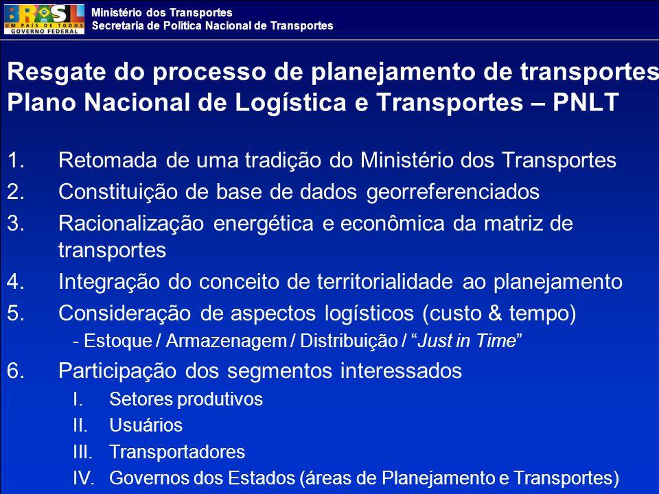 Ministério dos Transportes Secretaria de Política Nacional de Transportes Portfólio de Investimentos do PNLT ( por modalidade e por período - R$ milhão) Fonte: PNLT PeríodoModo de TransporteExtensão/QuantidadeRecurso (milhões reais) Participação Modal no Total de investimentos 2008-2011 Rodoviário19.74342.296,00 Total no período 72.701,00 Ferroviário4.09916.969,00 Hidroviário3.3632.672,00 Portuário567.301,00 Aeroportuário133.462,00 2012-2015 Rodoviário3.76913.109,00 Total no período 28.573,00 Ferroviário2.1833.048,00 Hidroviário3.2443.962,00 Portuário585.450,00 Aeroportuário133.004,00 Após 2015 Rodoviário19.69118.789,00 Total no período 71.141,00 Ferroviário13.97430.539,00 Hidroviário7.8826.173,00 Portuário5512.411,00 Aeroportuário143.229,00 Total modal Rodoviário43.20374.194,0043,0 Ferroviário20.25650.556,0029,4 Hidroviário14.48912.806,007,4 Portuário16925.085,0014,6 Aeroportuário409.695,005,6 Total Brasil172.414,00 (*)100.0 (*) Após a reavaliação com UFs o total de investimentos supera R$ 292 bilhões