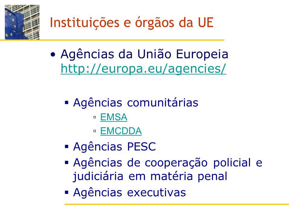 Instituições e órgãos da UE Agências da União Europeia http://europa.eu/agencies/ http://europa.eu/agencies/ Agências comunitárias EMSA EMCDDA Agências PESC Agências de cooperação policial e judiciária em matéria penal Agências executivas