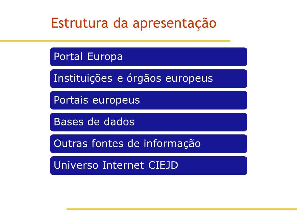 Estrutura da apresentação Portal EuropaInstituições e órgãos europeusPortais europeusBases de dadosOutras fontes de informaçãoUniverso Internet CIEJD