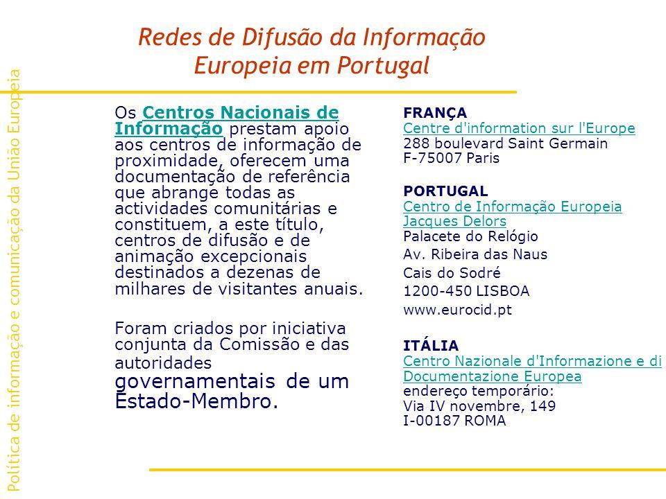 Redes de Difusão da Informação Europeia em Portugal Os Centros Nacionais de Informação prestam apoio aos centros de informação de proximidade, oferecem uma documentação de referência que abrange todas as actividades comunitárias e constituem, a este título, centros de difusão e de animação excepcionais destinados a dezenas de milhares de visitantes anuais.Centros Nacionais de Informação Foram criados por iniciativa conjunta da Comissão e das autoridades governamentais de um Estado-Membro.