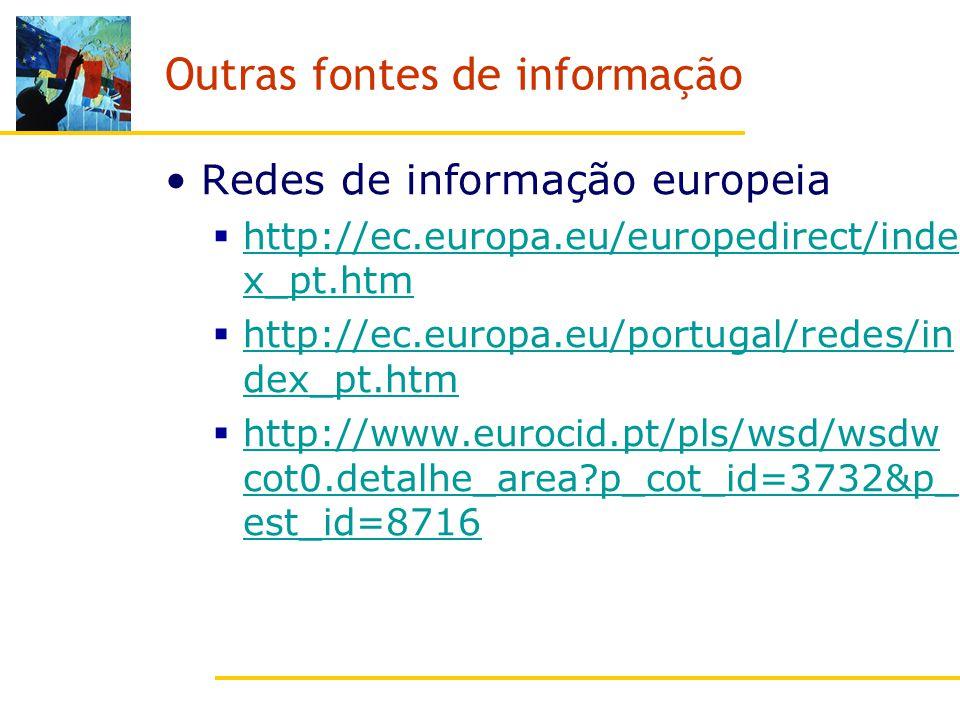 Outras fontes de informação Redes de informação europeia http://ec.europa.eu/europedirect/inde x_pt.htm http://ec.europa.eu/europedirect/inde x_pt.htm http://ec.europa.eu/portugal/redes/in dex_pt.htm http://ec.europa.eu/portugal/redes/in dex_pt.htm http://www.eurocid.pt/pls/wsd/wsdw cot0.detalhe_area p_cot_id=3732&p_ est_id=8716 http://www.eurocid.pt/pls/wsd/wsdw cot0.detalhe_area p_cot_id=3732&p_ est_id=8716