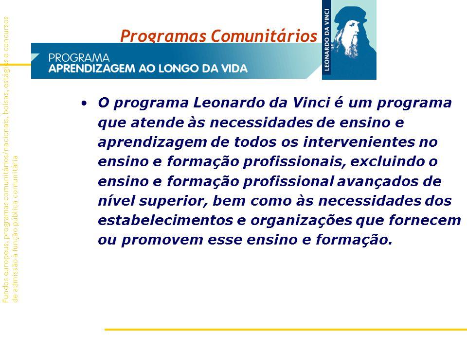 Programas Comunitários O programa Leonardo da Vinci é um programa que atende às necessidades de ensino e aprendizagem de todos os intervenientes no ensino e formação profissionais, excluindo o ensino e formação profissional avançados de nível superior, bem como às necessidades dos estabelecimentos e organizações que fornecem ou promovem esse ensino e formação.