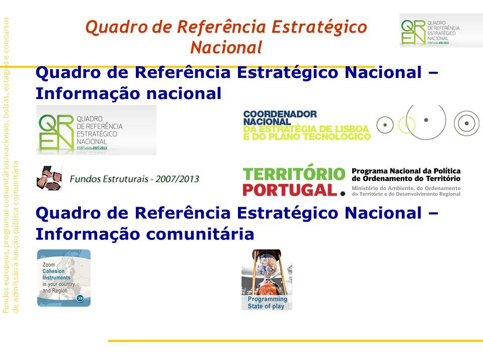 Fundos europeus, programas comunitários/nacionais, bolsas, estágios e concursos de admissão à função pública comunitária Quadro de Referência Estratégico Nacional – Informação nacional Quadro de Referência Estratégico Nacional Quadro de Referência Estratégico Nacional – Informação comunitária