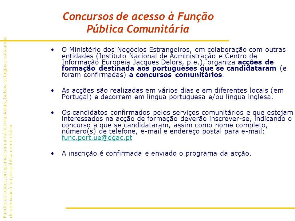 Concursos de acesso à Função Pública Comunitária O Ministério dos Negócios Estrangeiros, em colaboração com outras entidades (Instituto Nacional de Administração e Centro de Informação Europeia Jacques Delors, p.e.), organiza acções de formação destinada aos portugueses que se candidataram (e foram confirmadas) a concursos comunitários.