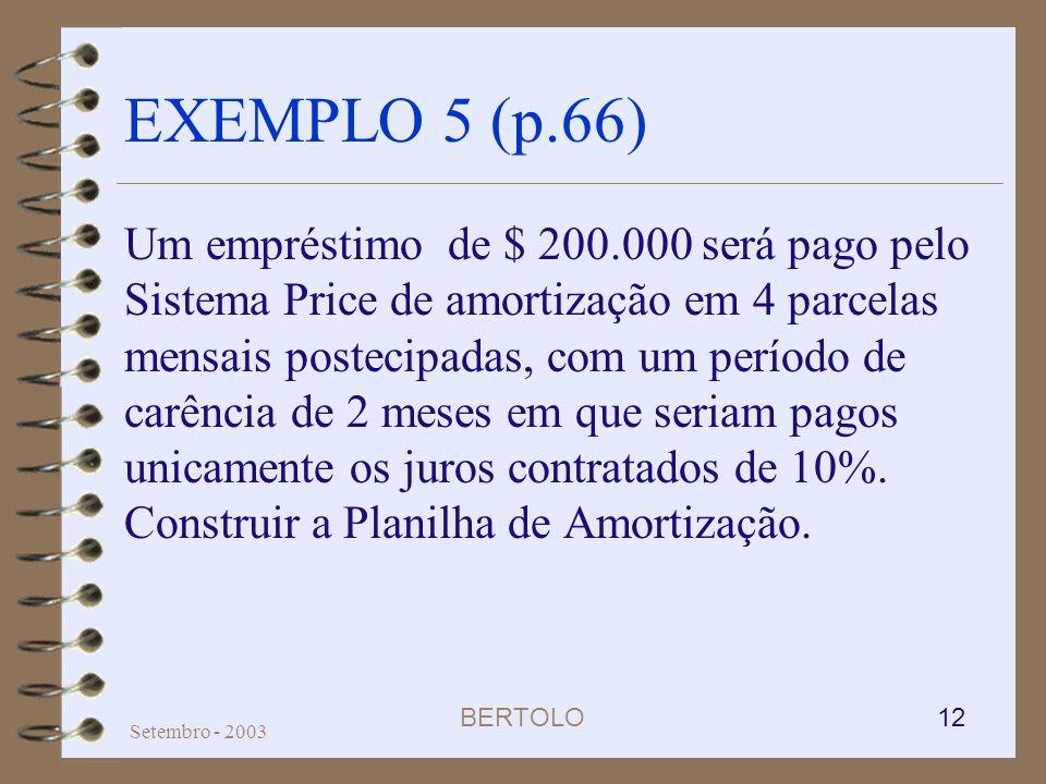 BERTOLO 12 Setembro - 2003 EXEMPLO 5 (p.66) Um empréstimo de $ 200.000 será pago pelo Sistema Price de amortização em 4 parcelas mensais postecipadas,
