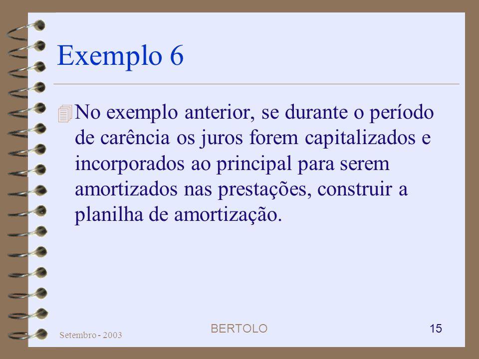 BERTOLO 15 Setembro - 2003 Exemplo 6 4 No exemplo anterior, se durante o período de carência os juros forem capitalizados e incorporados ao principal