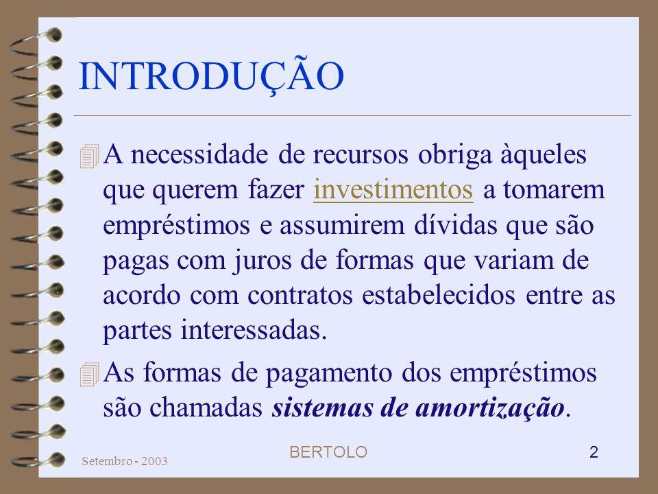 BERTOLO 2 Setembro - 2003 INTRODUÇÃO 4 A necessidade de recursos obriga àqueles que querem fazer investimentos a tomarem empréstimos e assumirem dívid