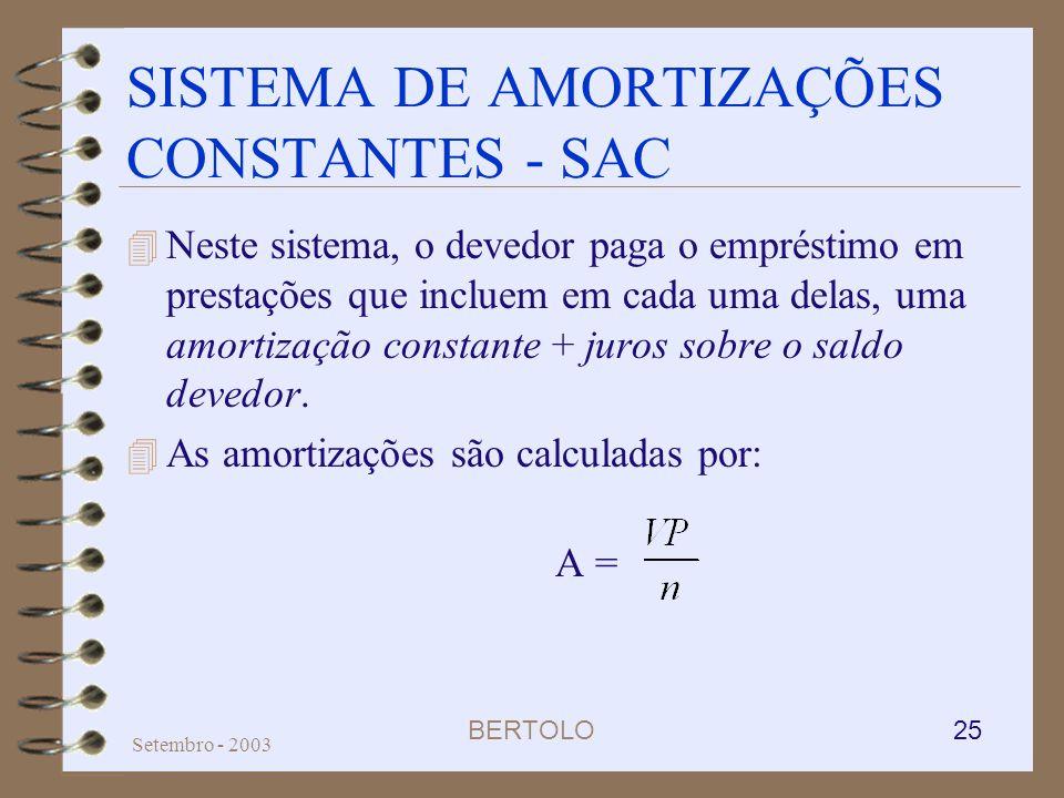BERTOLO 25 Setembro - 2003 SISTEMA DE AMORTIZAÇÕES CONSTANTES - SAC 4 Neste sistema, o devedor paga o empréstimo em prestações que incluem em cada uma