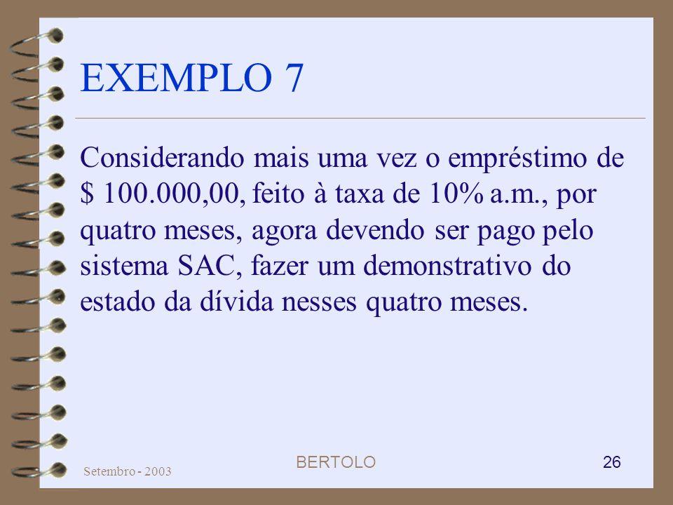 BERTOLO 26 Setembro - 2003 EXEMPLO 7 Considerando mais uma vez o empréstimo de $ 100.000,00, feito à taxa de 10% a.m., por quatro meses, agora devendo