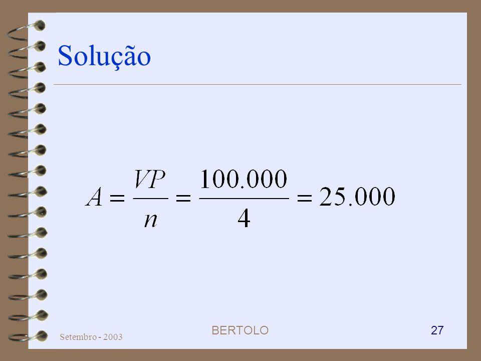 BERTOLO 27 Setembro - 2003 Solução
