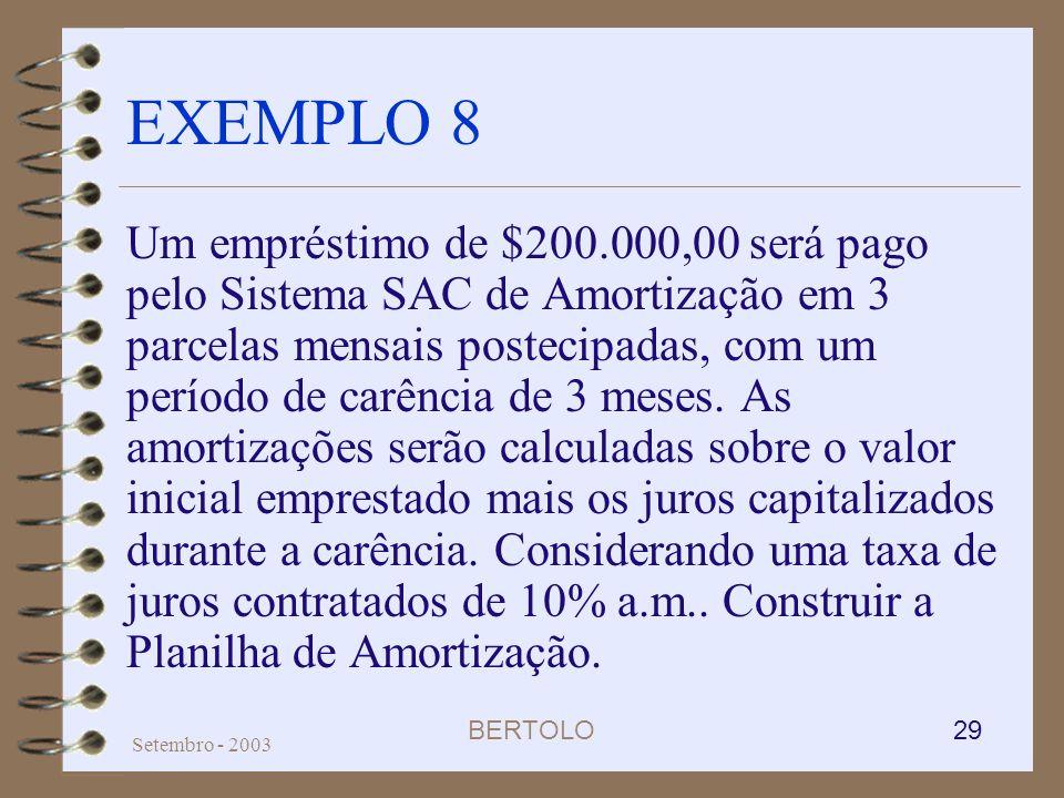 BERTOLO 29 Setembro - 2003 EXEMPLO 8 Um empréstimo de $200.000,00 será pago pelo Sistema SAC de Amortização em 3 parcelas mensais postecipadas, com um