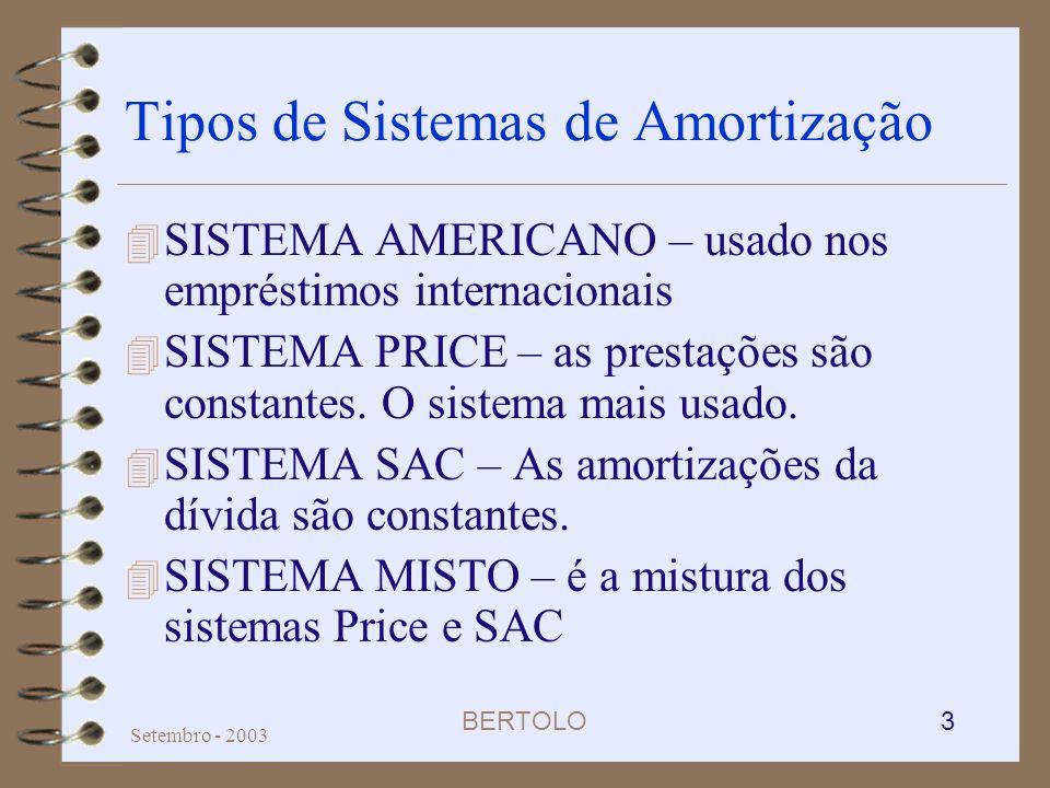 BERTOLO 3 Setembro - 2003 Tipos de Sistemas de Amortização 4 SISTEMA AMERICANO – usado nos empréstimos internacionais 4 SISTEMA PRICE – as prestações