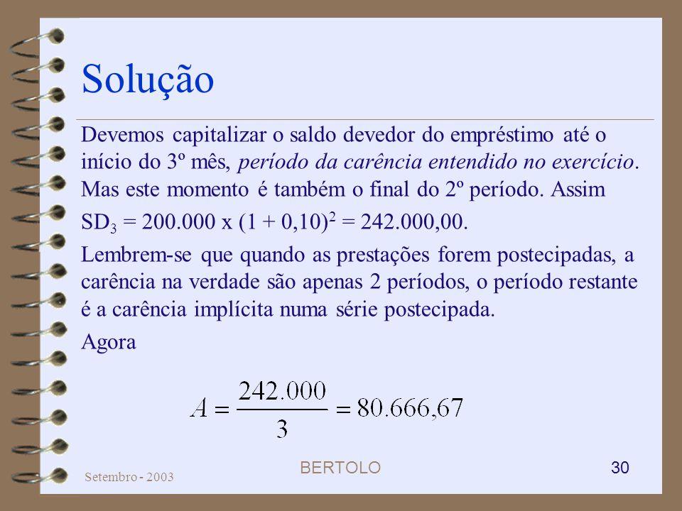 BERTOLO 30 Setembro - 2003 Solução Devemos capitalizar o saldo devedor do empréstimo até o início do 3º mês, período da carência entendido no exercíci