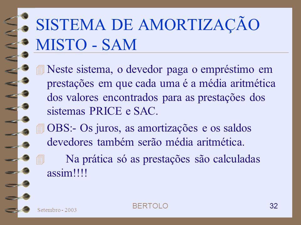 BERTOLO 32 Setembro - 2003 SISTEMA DE AMORTIZAÇÃO MISTO - SAM 4 Neste sistema, o devedor paga o empréstimo em prestações em que cada uma é a média ari