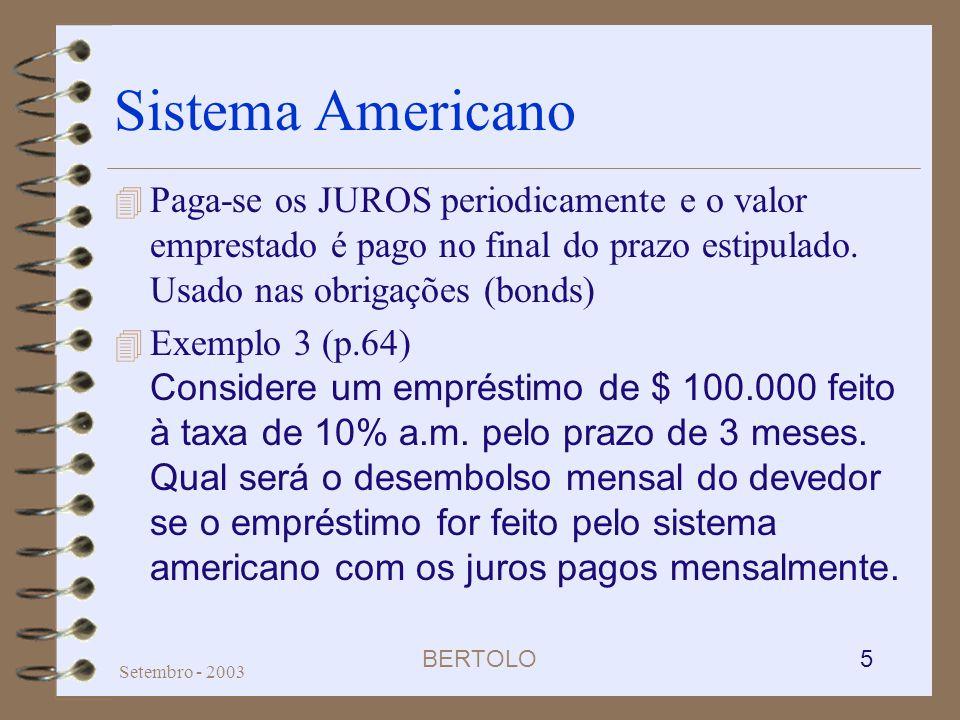 BERTOLO 5 Setembro - 2003 Sistema Americano 4 Paga-se os JUROS periodicamente e o valor emprestado é pago no final do prazo estipulado. Usado nas obri