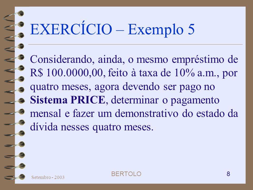BERTOLO 8 Setembro - 2003 EXERCÍCIO – Exemplo 5 Considerando, ainda, o mesmo empréstimo de R$ 100.0000,00, feito à taxa de 10% a.m., por quatro meses,