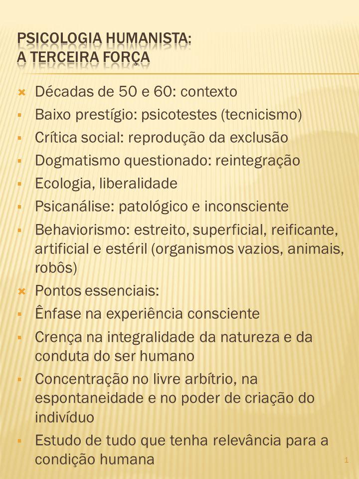 Décadas de 50 e 60: contexto Baixo prestígio: psicotestes (tecnicismo) Crítica social: reprodução da exclusão Dogmatismo questionado: reintegração Eco