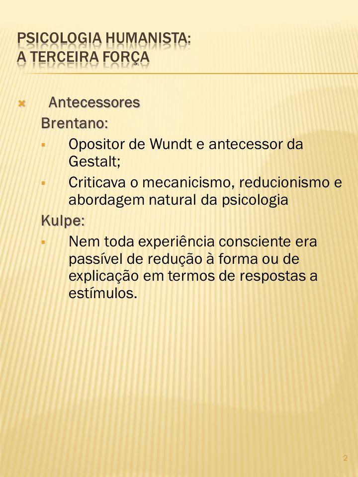 Antecessores Antecessores Brentano: Opositor de Wundt e antecessor da Gestalt; Criticava o mecanicismo, reducionismo e abordagem natural da psicologia
