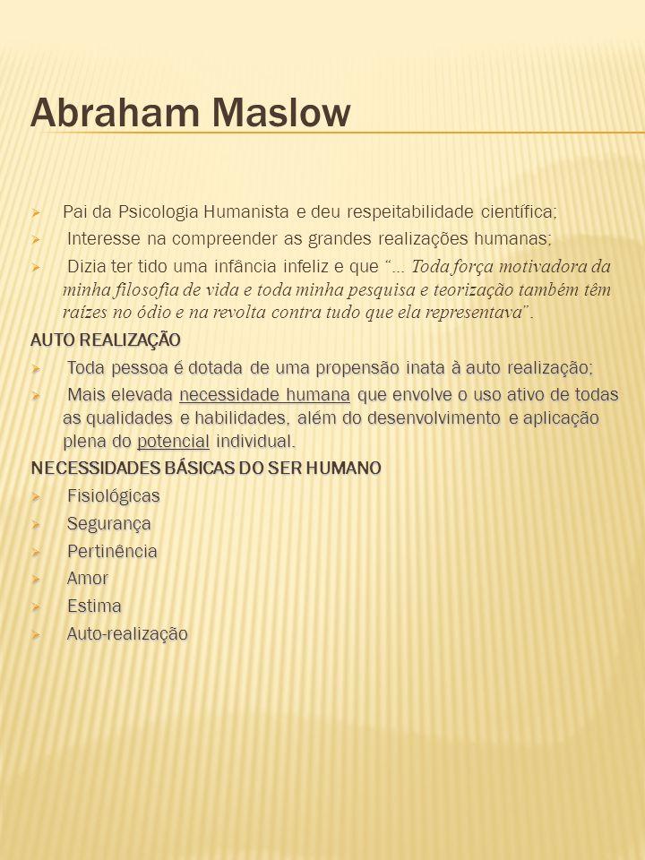 Abraham Maslow Pai da Psicologia Humanista e deu respeitabilidade científica; Interesse na compreender as grandes realizações humanas; Dizia ter tido