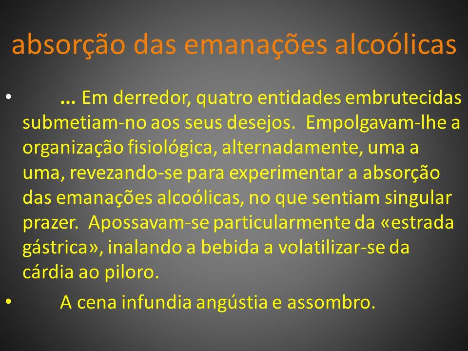 absorção das emanações alcoólicas...