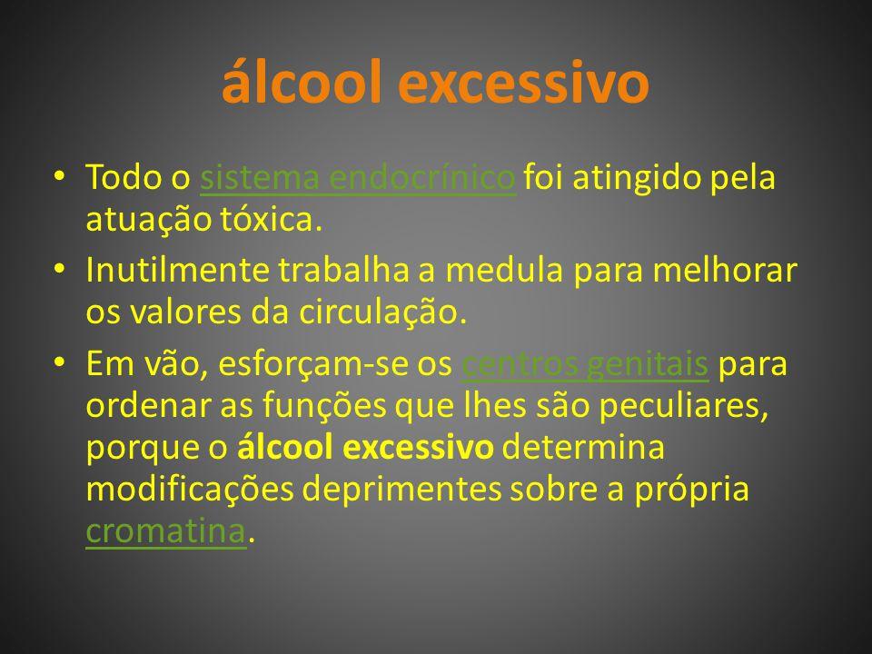 álcool excessivo Todo o sistema endocrínico foi atingido pela atuação tóxica.