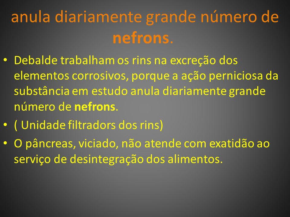 anula diariamente grande número de nefrons.