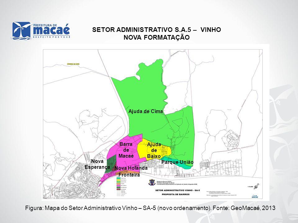 NOVA FORMATAÇÃO Figura: Mapa do Setor Administrativo Vinho – SA-5 (novo ordenamento). Fonte: GeoMacaé, 2013 Ajuda de Baixo Nova Esperança Nova Holanda