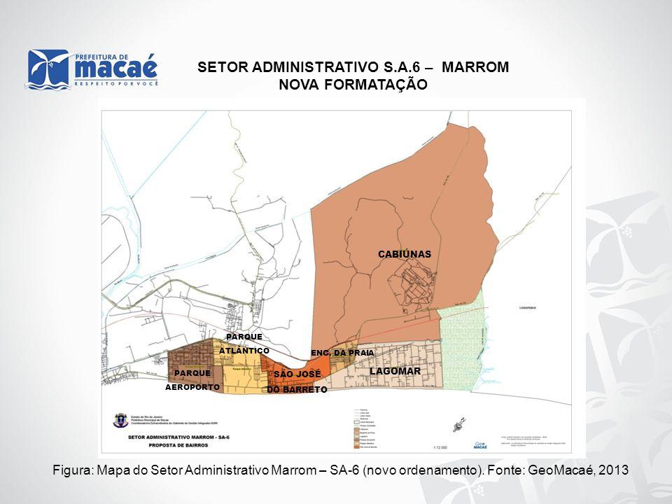 NOVA FORMATAÇÃO Figura: Mapa do Setor Administrativo Marrom – SA-6 (novo ordenamento). Fonte: GeoMacaé, 2013 LAGOMAR CABIÚNAS SÃO JOSÉ DO BARRETO PARQ
