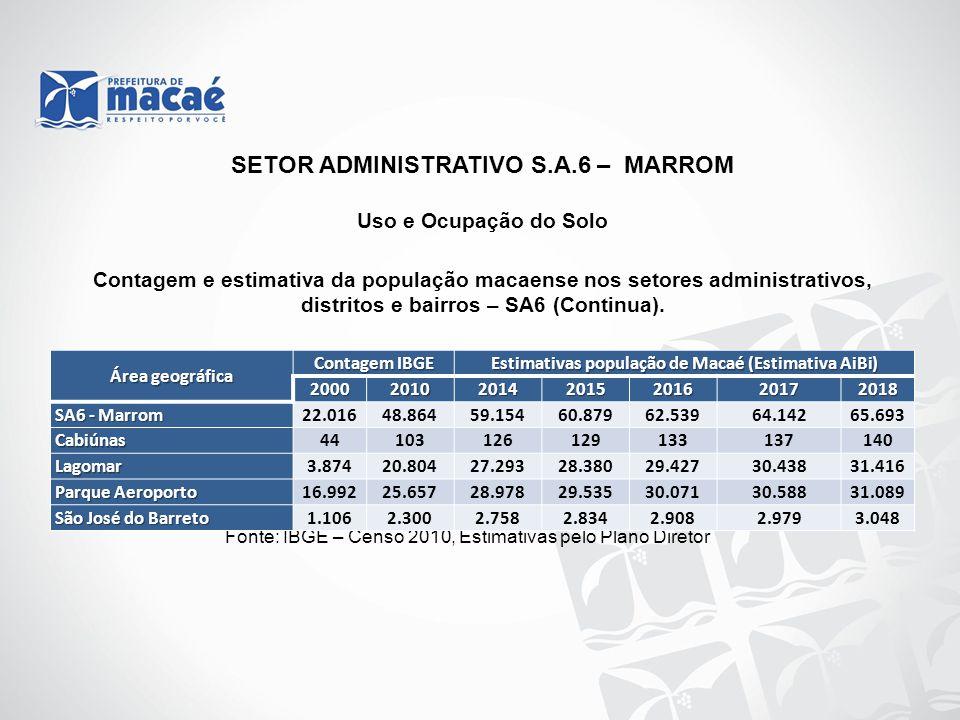 Uso e Ocupação do Solo Contagem e estimativa da população macaense nos setores administrativos, distritos e bairros – SA6 (Continua). Fonte: IBGE – Ce