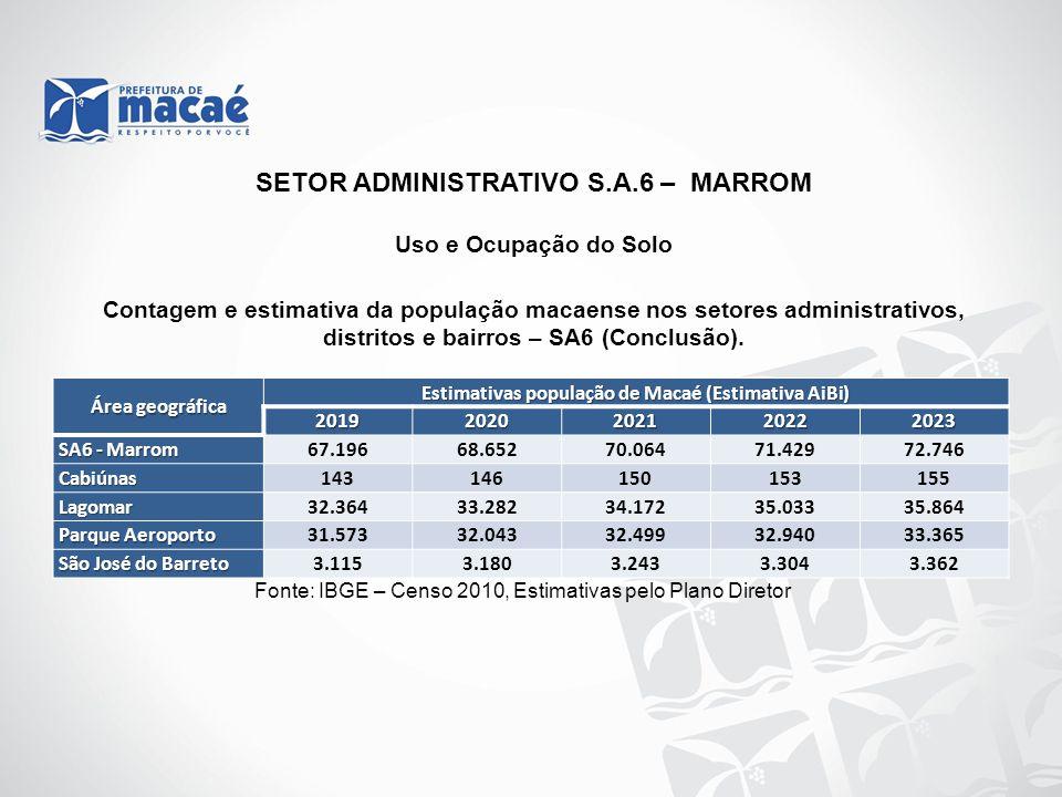 Uso e Ocupação do Solo Contagem e estimativa da população macaense nos setores administrativos, distritos e bairros – SA6 (Conclusão). Fonte: IBGE – C