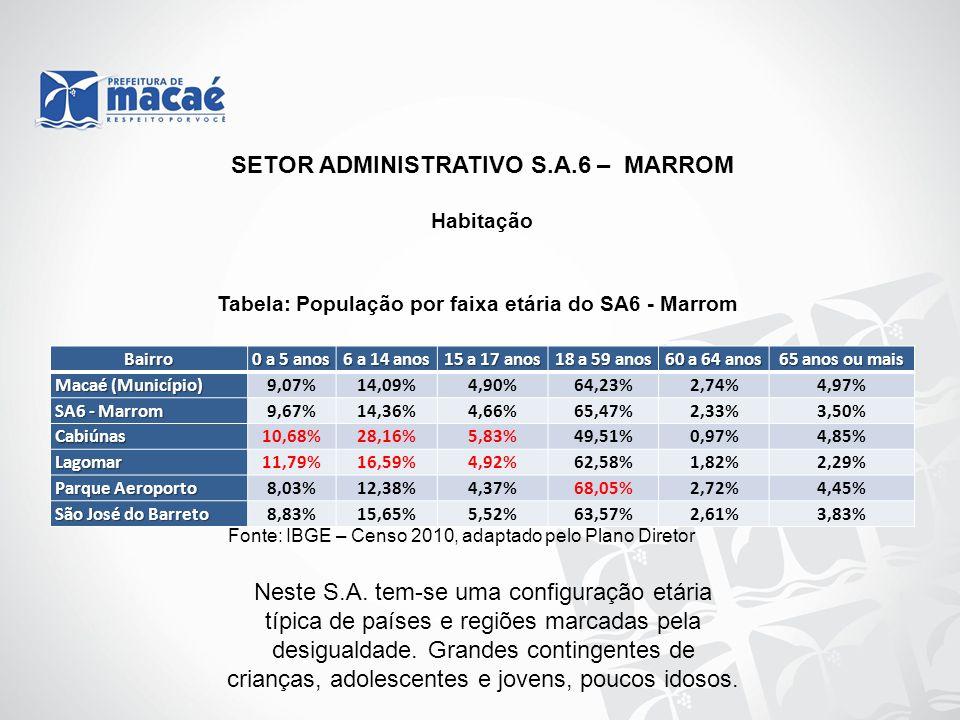 Habitação Tabela: População por faixa etária do SA6 - Marrom Fonte: IBGE – Censo 2010, adaptado pelo Plano Diretor SETOR ADMINISTRATIVO S.A.6 – MARROM