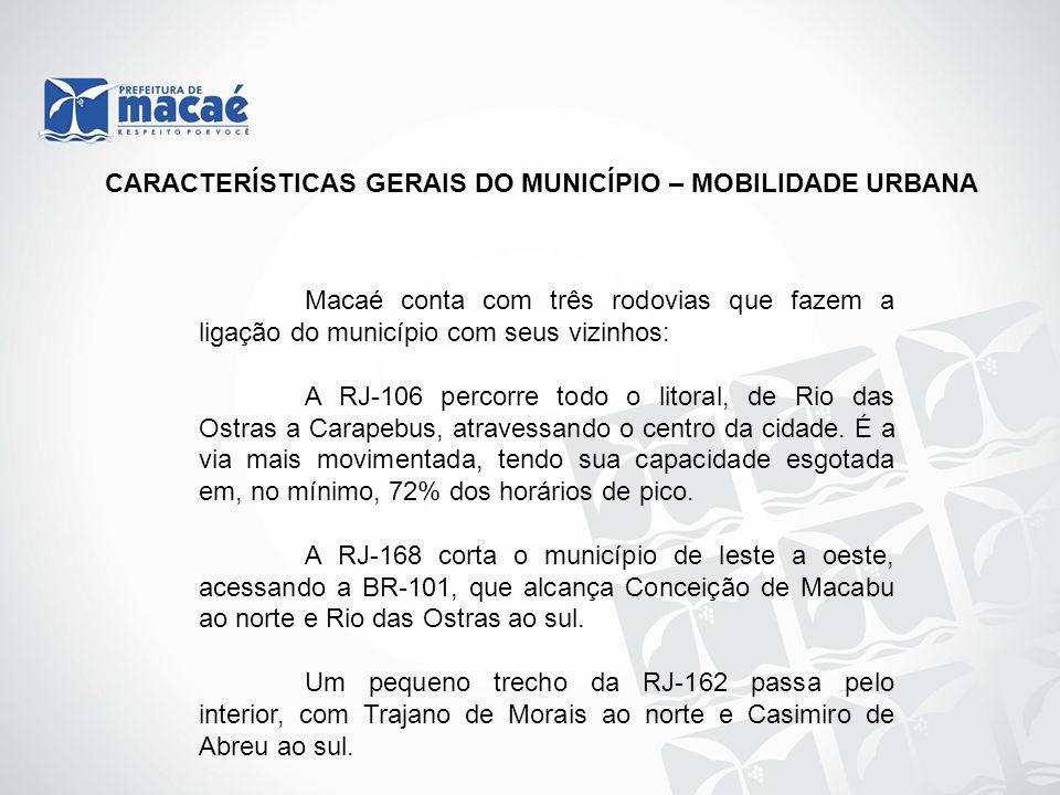 CARACTERÍSTICAS GERAIS DO MUNICÍPIO – MOBILIDADE URBANA Macaé conta com três rodovias que fazem a ligação do município com seus vizinhos: A RJ-106 per