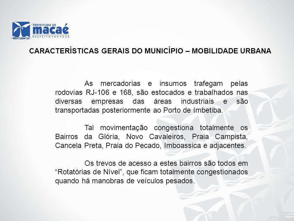 CARACTERÍSTICAS GERAIS DO MUNICÍPIO – MOBILIDADE URBANA As mercadorias e insumos trafegam pelas rodovias RJ-106 e 168, são estocados e trabalhados nas