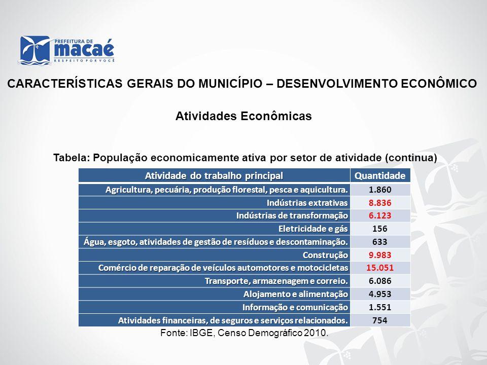 CARACTERÍSTICAS GERAIS DO MUNICÍPIO – DESENVOLVIMENTO ECONÔMICO Atividade do trabalho principal Quantidade Agricultura, pecuária, produção florestal,