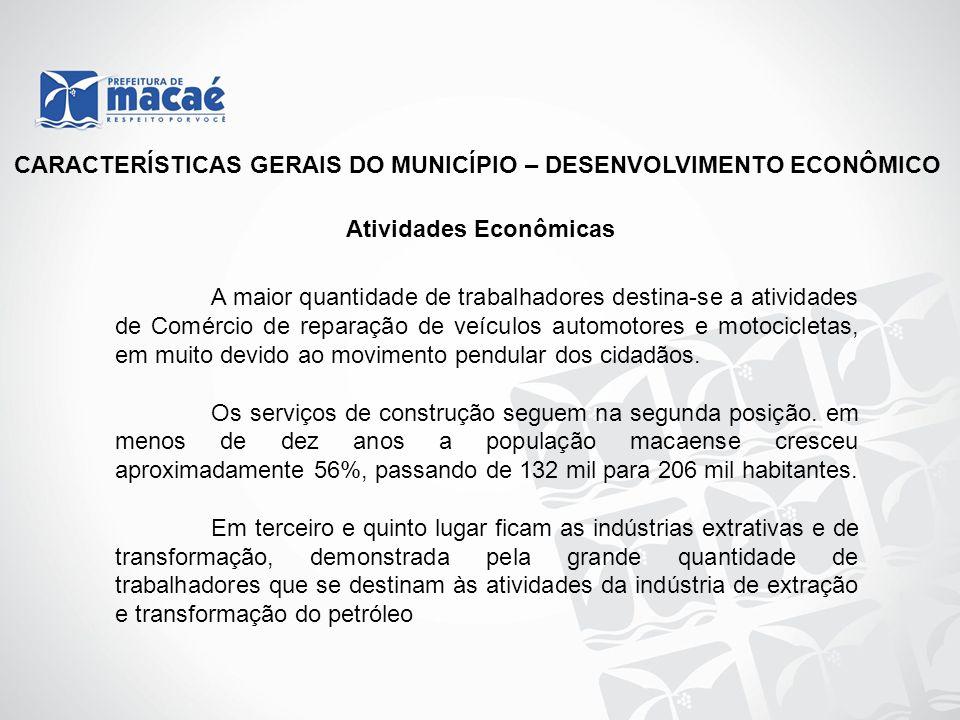 CARACTERÍSTICAS GERAIS DO MUNICÍPIO – DESENVOLVIMENTO ECONÔMICO Atividades Econômicas A maior quantidade de trabalhadores destina-se a atividades de C