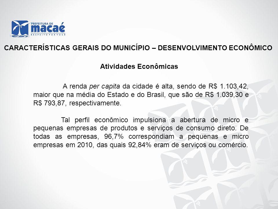 CARACTERÍSTICAS GERAIS DO MUNICÍPIO – DESENVOLVIMENTO ECONÔMICO Atividades Econômicas A renda per capita da cidade é alta, sendo de R$ 1.103,42, maior