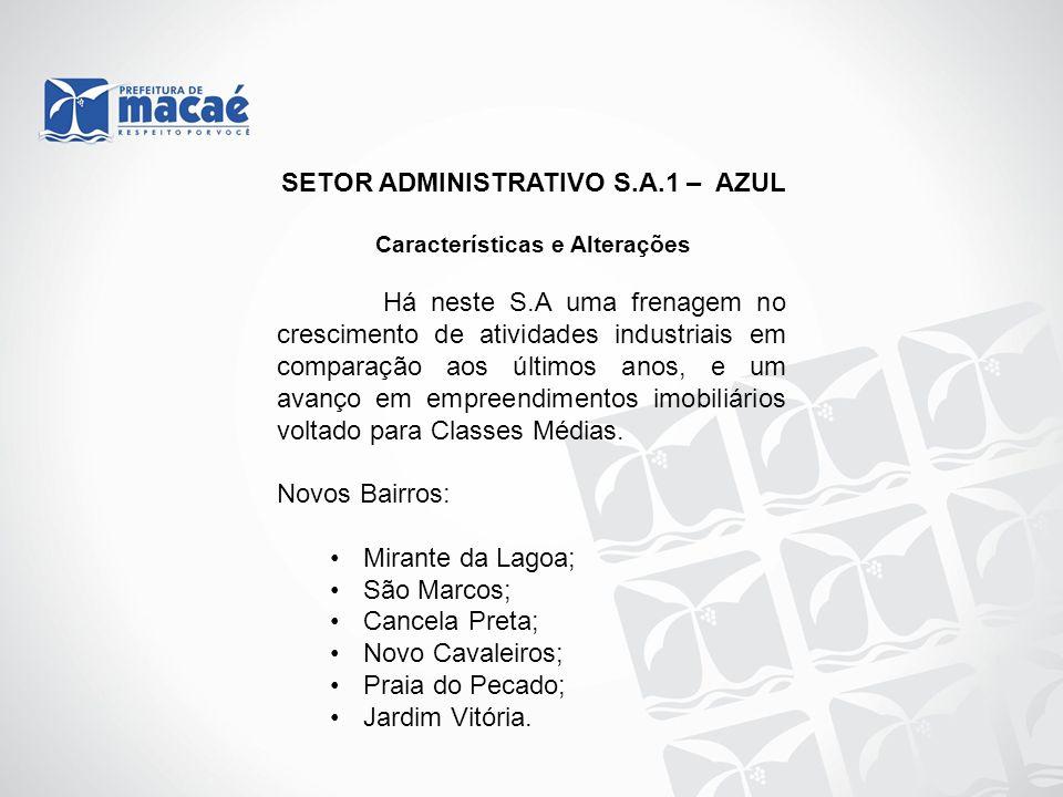 SETOR ADMINISTRATIVO S.A.1 – AZUL Características e Alterações Há neste S.A uma frenagem no crescimento de atividades industriais em comparação aos úl
