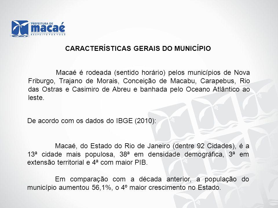Macaé é rodeada (sentido horário) pelos municípios de Nova Friburgo, Trajano de Morais, Conceição de Macabu, Carapebus, Rio das Ostras e Casimiro de A