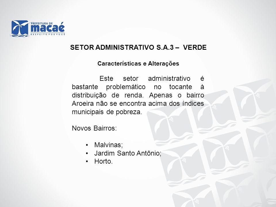 SETOR ADMINISTRATIVO S.A.3 – VERDE Características e Alterações Este setor administrativo é bastante problemático no tocante à distribuição de renda.