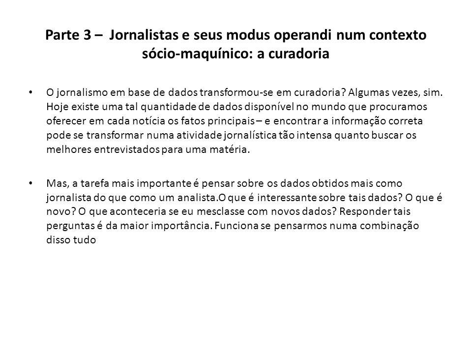 Parte 3 – Jornalistas e seus modus operandi num contexto sócio-maquínico: a curadoria O jornalismo em base de dados transformou-se em curadoria? Algum