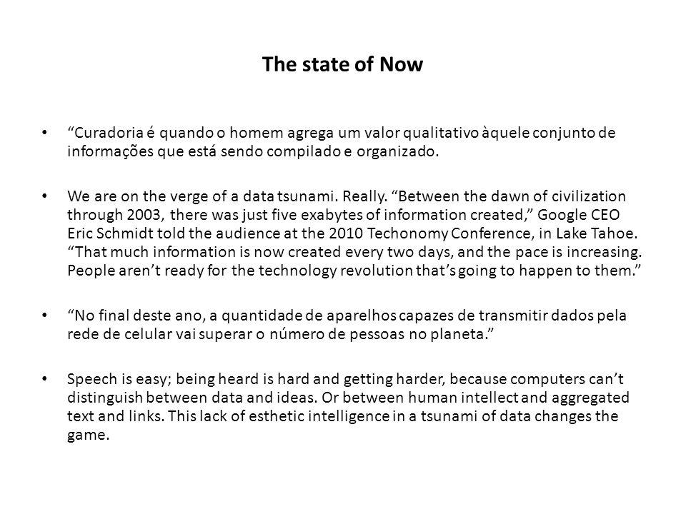 The state of Now Curadoria é quando o homem agrega um valor qualitativo àquele conjunto de informações que está sendo compilado e organizado. We are o