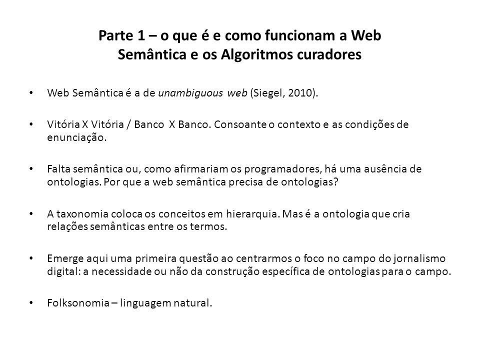 Parte 1 – o que é e como funcionam a Web Semântica e os Algoritmos curadores Web Semântica é a de unambiguous web (Siegel, 2010). Vitória X Vitória /